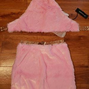 Pink Fur Two piece Set